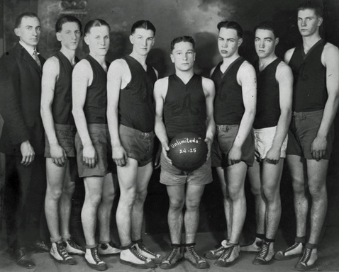 "1924-25 ""A"" team. Marion ""Mike"" Prather (captain) with the ball"