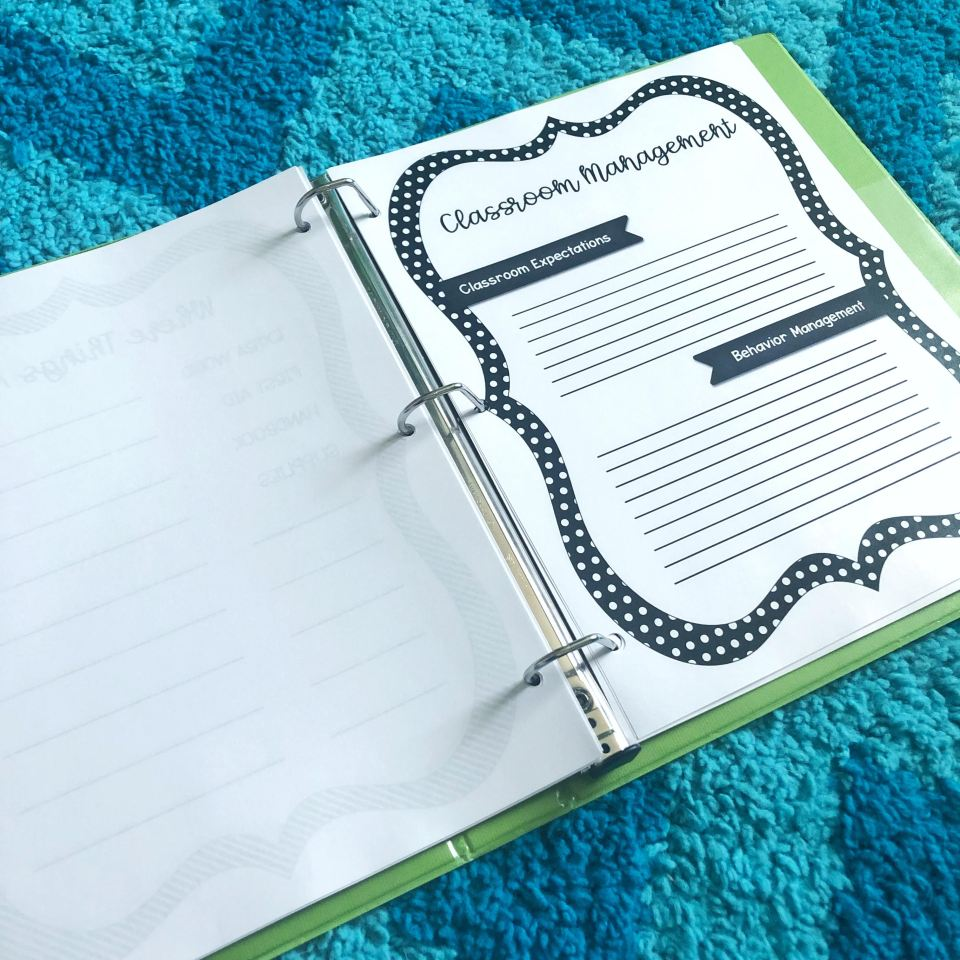 sub binder sub plans classroom management page