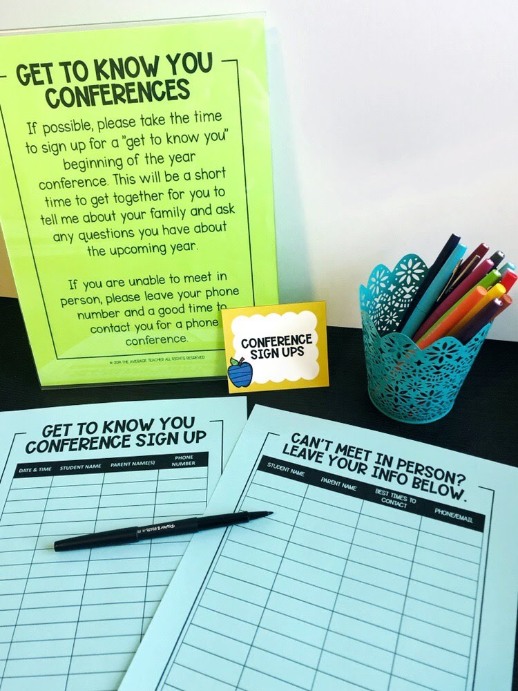 Parent conference sign up at meet the teacher night