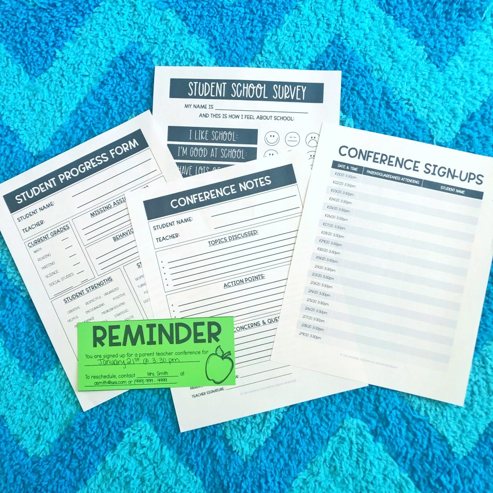 Parent Teacher Conference Forms - Parent Communication for Teachers