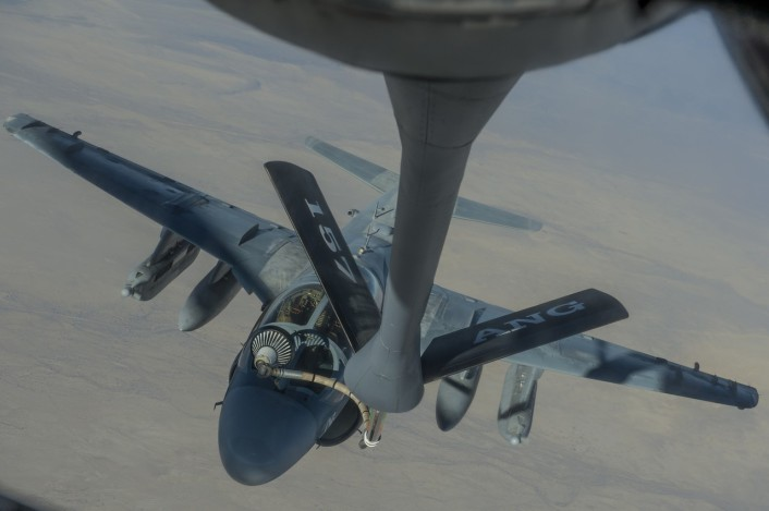 EA-6B refuel boomer view