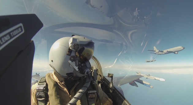 GoPro footage of a dogfight between Dutch F-16 and U S  F-15