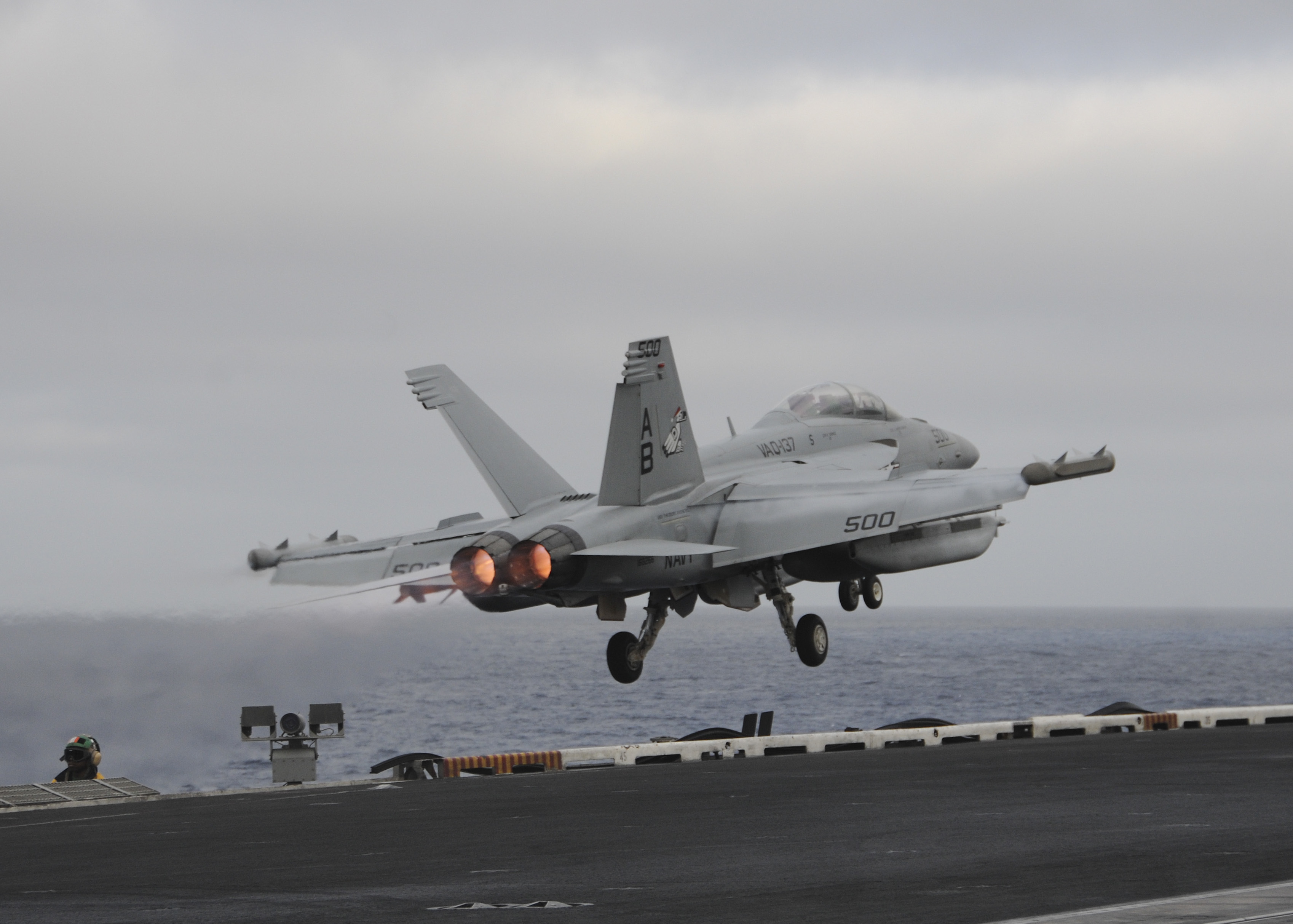 151121-N-NV908-615 PACIFIC OCEAN (Nov. 21, 2015) – An E/A-18G Growler, assigned to the Rooks of Electronic Attack Squadron (VAQ) 137, launches off the flight deck of the aircraft carrier USS Theodore Roosevelt (CVN 71). The Rooks,  along with all Carrier Air Wing One aircraft, are on their way home after completing an eight-month deployment as part of the Theodore Roosevelt Carrier Strike Group.  Theodore Roosevelt is operating in the U.S. 3rd Fleet area of operations as part of a worldwide deployment en route to its new homeport in San Diego to complete a three-carrier homeport shift. (U.S. Navy Photo by Mass Communication Specialist Seaman Chad M. Trudeau/Released)