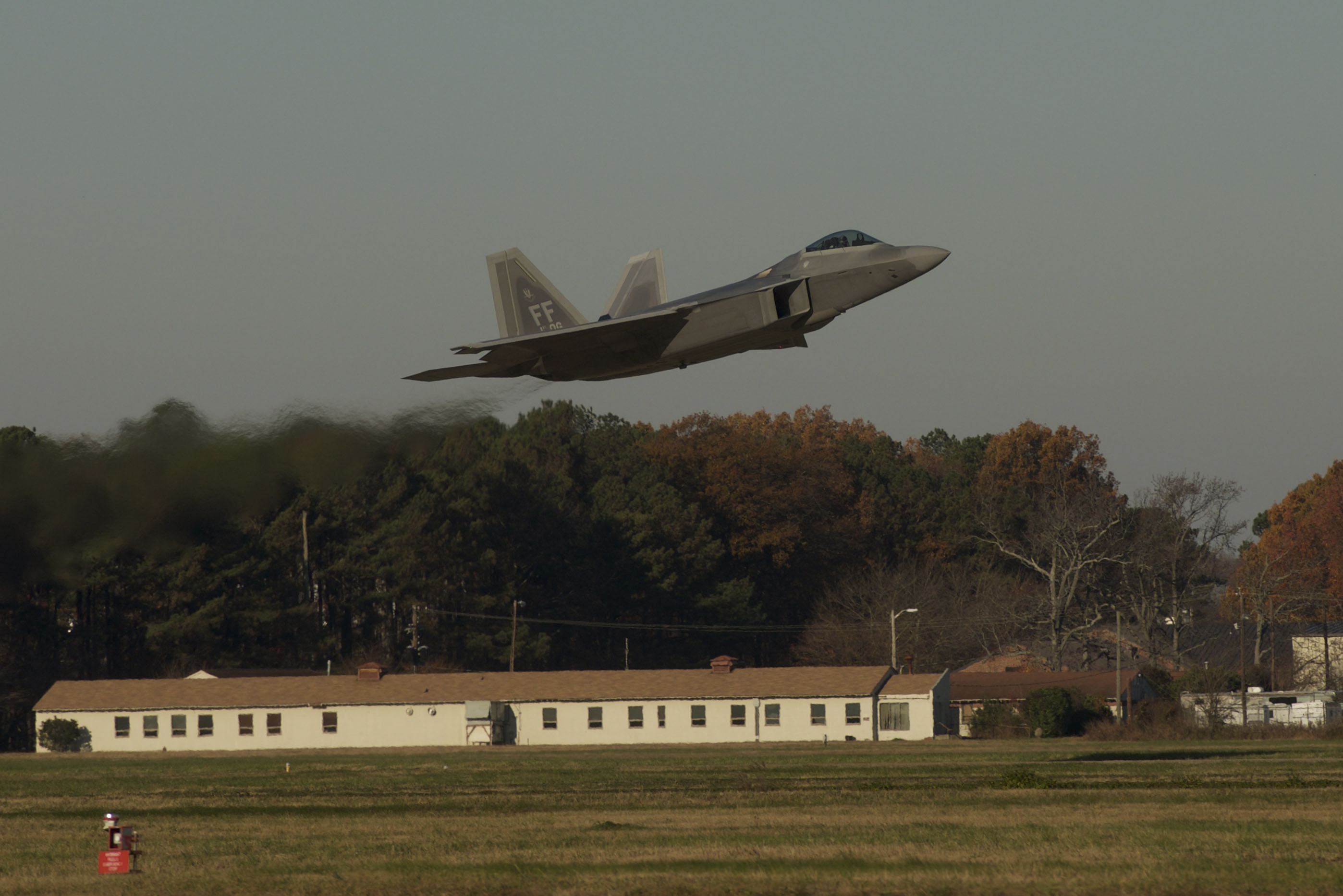 A U.S. Air Force F-22 Raptor takes off for the inaugural Trilateral Exercise at Langley Air Force Base, Va., Dec. 4, 2015. Approximately 230 U.S. Airmen worked alongside British Royal Air Force and French air force personnel during the exercise. (U.S. Air Force photo by Airman 1st Class Derek Seifert)