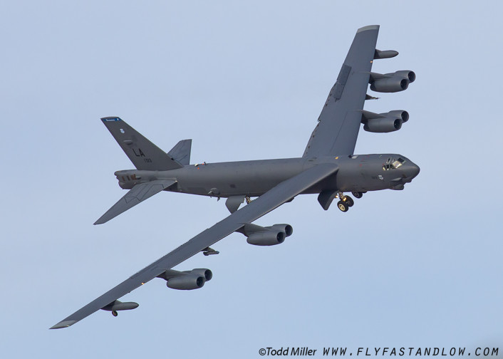 B-52H of the 2nd BW, 96th BS of Barksdale AFB, Louisiana on approach to Nellis AFB after Red Flag 16-2 sortie.