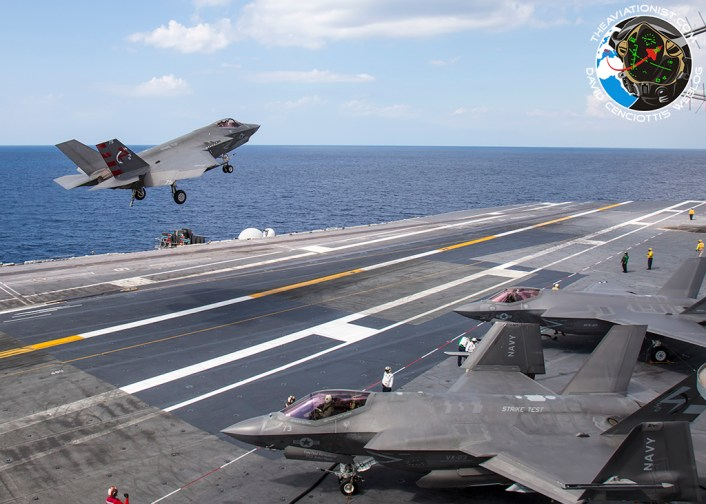 "F-35C from VX-23 ""Salty Dogs"" executes a last second wave-off with F-35Cs from VX-23 and VFA-101 ""Grim Reapers"" in background. During DT-III on the USS George Washington (CVN-73) Monday, August 15."