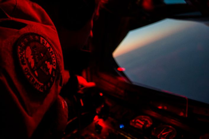 A U.S. Air Force KC-135 Stratotanker boom operator, awaits his receivers for fuel over Iraq Sept. 28, 2016. Airmen from the 340th Expeditionary Air Refueling Squadron refueled U.S. Navy F/A-18 Super Hornets over Iraq in support of Combined Joint Task Force-Operation Inherent Resolve. The U.S. and more than 60 coalition partners work together to eliminate Daesh and the threat they pose to Iraq and Syria. (U.S. Air Force photo/Tech. Sgt. Larry E. Reid Jr., Released)