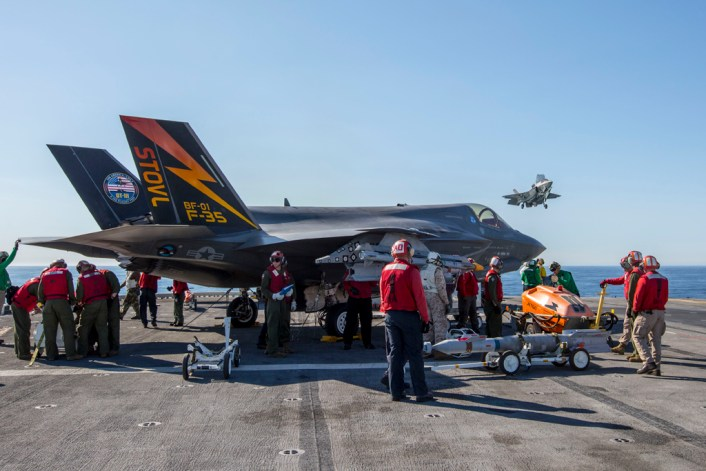 20161103-N-SS390-0xx PACIFIC OCEAN (NOV. 3, 2016) An F-35B Lightning II short takeoff/vertical landing (STOVL) aircraft conducts test operations on the flight deck of amphibious assault ship USS America (LHA 6). The highly diverse cadre of Pax River Integrated Test Force (ITF) technicians, maintainers, engineers, logisticians, support staff and test pilots are embarked for the third and final developmental test phase (DT-III) of F-35B carrier suitability and integration. (Photo by Darin Russell/Released)