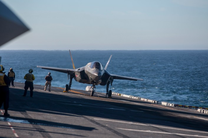 20161107-N-SS390-0xx PACIFIC OCEAN (NOV. 7, 2016) An F-35B Lightning II short takeoff/vertical landing (STOVL) aircraft conducts test operations on the flight deck of amphibious assault ship USS America (LHA 6). BF-1, Flt 614, Mr. Peter Wilsonl & BF-5, Flt 263, Major Rob Guyette test high sea states.  The highly diverse cadre of Pax River Integrated Test Force (ITF) technicians, maintainers, engineers, logisticians, support staff and test pilots are embarked for the third and final developmental test phase (DT-III) of F-35B carrier suitability and integration. (Photo by Darin Russell/Released)