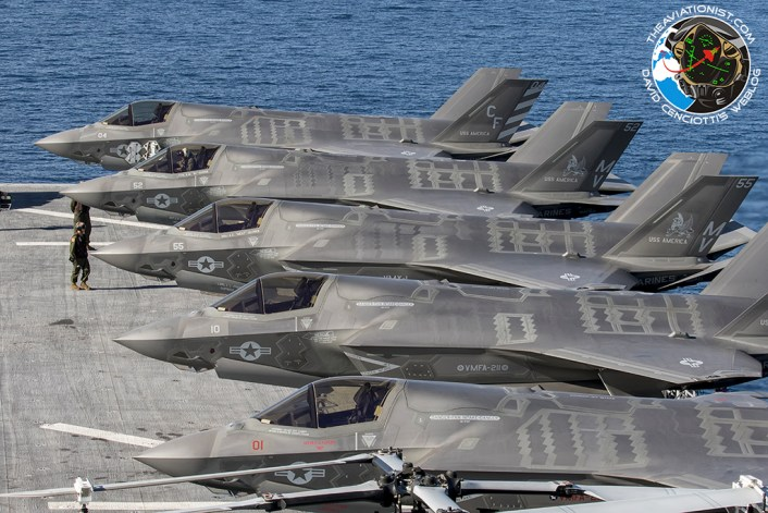 F-35Bs from USMC VMFA-211 & VMX-1 on the deck of the USS America (LHA-6) during Carrier capability proof of concept demonstration November 19, 2016.