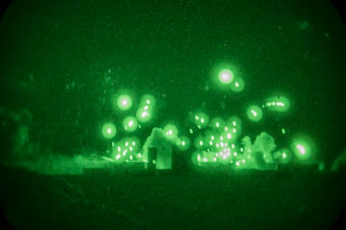 U.S. Marine Corps UH-1Y Venoms assigned to Marine Aviation Weapons and Tactics Squadron One (MAWTS-1) engage targets during an urban close air support exercise at Yodaville, Yuma, Ariz., Sept. 30, 2016. The urban close air support exercise was part of Weapons and Tactics Instructor Course (WTI) 1-17, a seven-week training event, hosted by MAWTS-1 cadre, which emphasizes operational integration of the six functions of Marine Corps aviation in support of a Marine Air Ground Task Force. MAWTS-1 provides standardized advanced tactical training and certification of unit instructor qualifications to support Marine Aviation Training and Readiness and assists in developing and employing aviation weapons and tactics. (U.S. Marine Corps photo by Lance Cpl. Danny Gonzalez 1st MARDIV COMCAM)