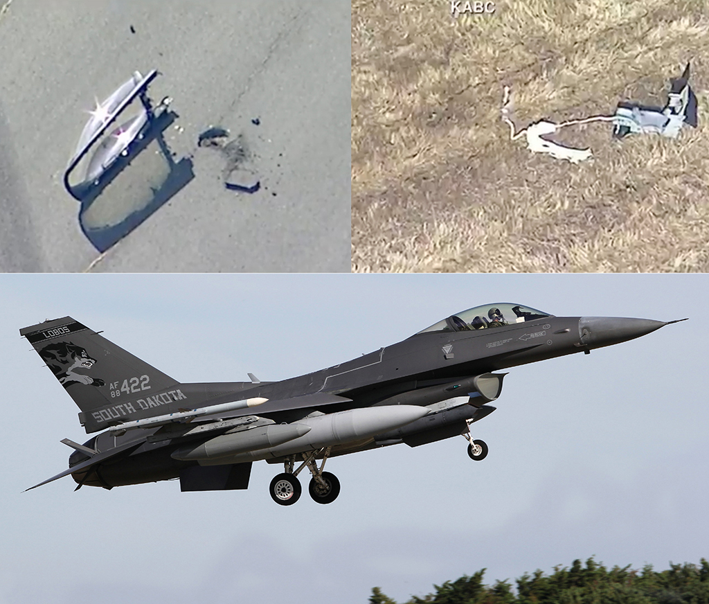 US F-16 fighter jet crashes in California