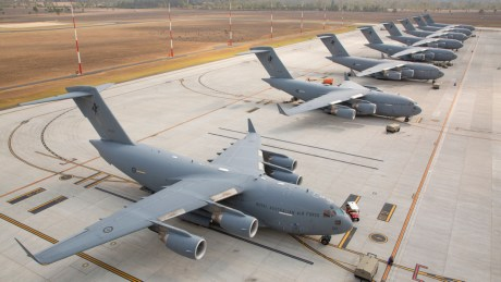 Rare Sight As All Eight RAAF C-17A Globemaster III Strategic Airlifters Share The Flightline Together For The First Time