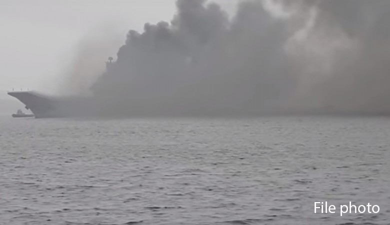 Fire on Russia's only aircraft carrier wounds two