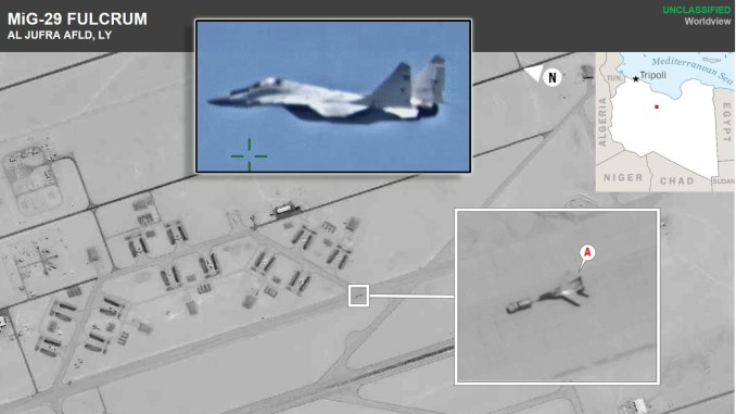 MiG 29 Al Jufra top - U.S. Africa Command Confirms Russia Deployed Military Fighter Aircraft to Libya, Shares Images