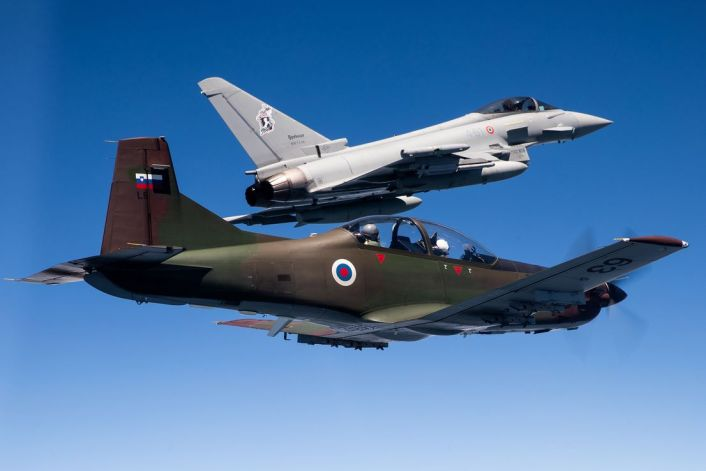 ItAF Slovenian PC 9 - Italian Typhoons Intercept Slovenian PC-9Ms During Air Policing Training Mission Over Slovenia