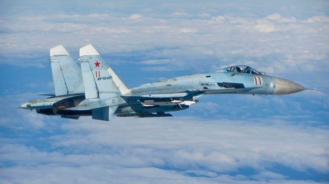 Russian SU 27 Flanker MOD 45157731 - Russia MOD Says A Su-27 Intercepted An Italian Atlantic MPA Over The Black Sea. But The Italians Retired The Type in 2017.