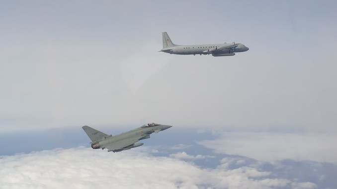 F 2000 Il 20 - The Italian Typhoons Supporting NATO Baltic Air Policing in Lithuania Intercept A Russian Il-20M ELINT Aircraft