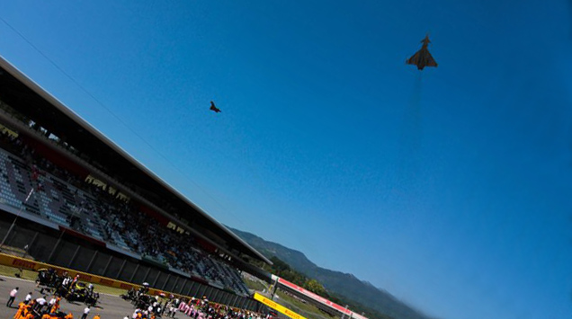 Typhoon Mugello - Four Italian Air Force Typhoons Perform Opening Flyover At The First Ever Tuscan F1 Grand Prix at Mugello