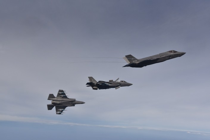 F 35 dropping GBU 12s 2 - Italian F-35A and B Carry Out First Simultaneous Drop Of (Inert) GBU-12 Laser Guided Bombs