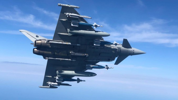 Italian Eurofighter with four GBU-48 bombs
