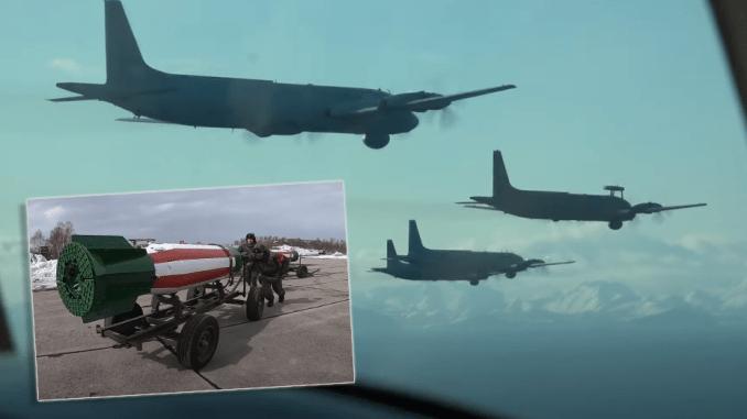 Russian Navy Il-38 lay mines