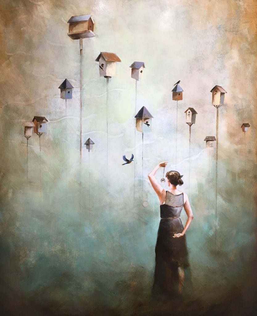 Birdhouses in the sky.