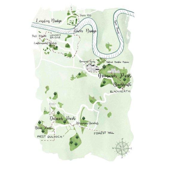 South++London+Map++Illustration