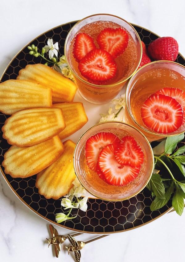Strawberry San Pellegrino Spritzer & Madeleines