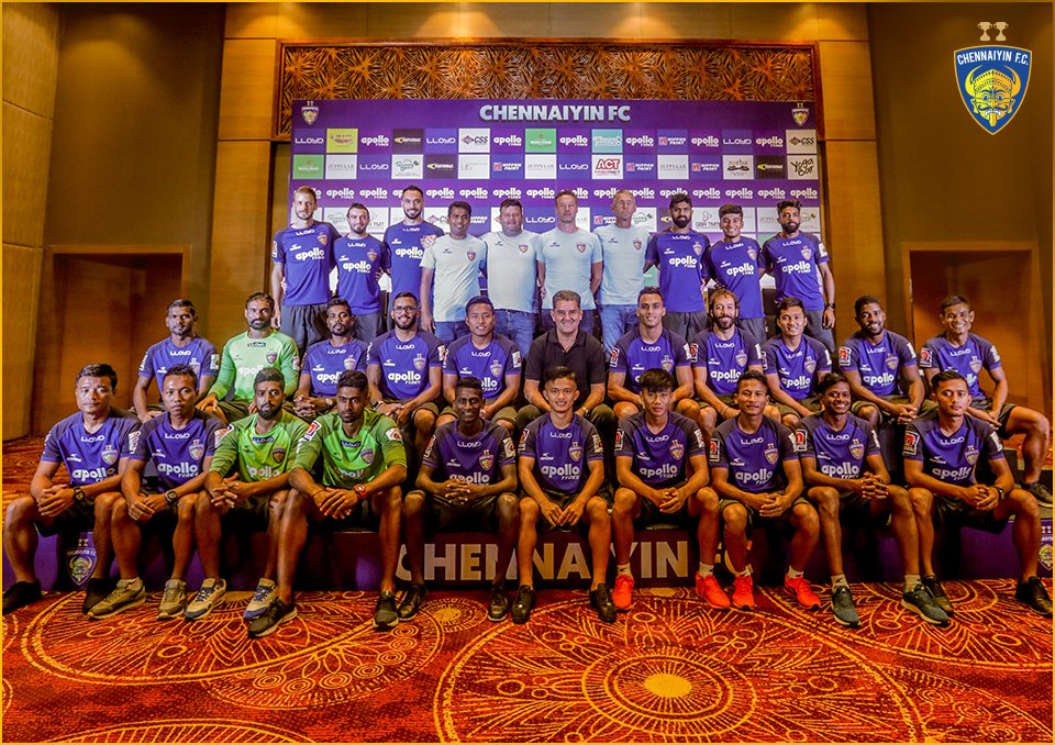 The Chennaiyin FC squad. Photo Courtesy: @ChennaiyinFC/Twitter