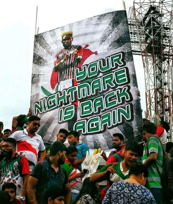 Mohun Bagan fans welcome Sony Norde back to their club. Photo Courtesy: @Mohun_Bagan/Twitter