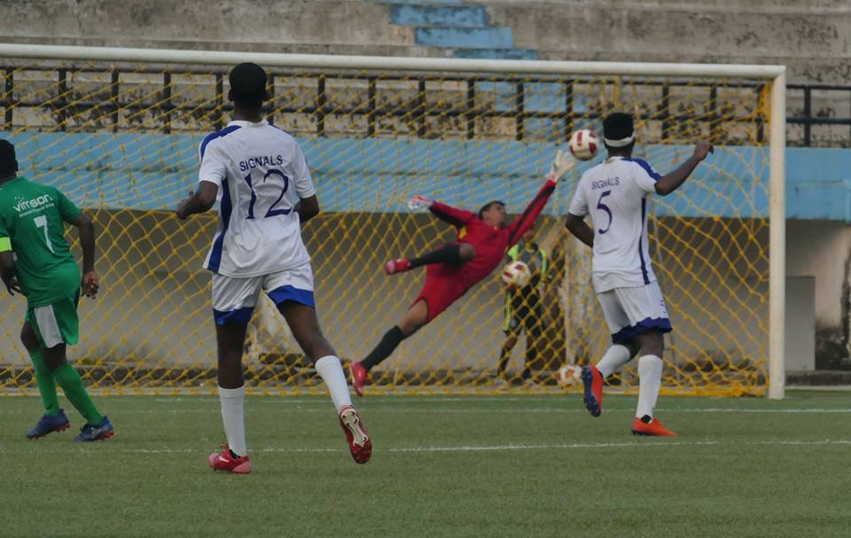 The Flying Greens: Salgaocar FC's Jason D'Mello makes a save in the Goa Professional League. Photo Courtesy: @gfagoa/Facebook
