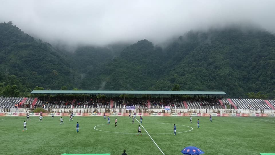 """If God had wanted us to play football in the clouds, he'd have put grass up there."" The picturesque Serchhip Ground. Photo Courtesy: @mfamizoramfootballassociation/Facebook"