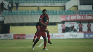 Piggybacking on their success: Goalscorers Willis Plaza and Dawda Ceesay celebrate the winning goal against Gokulam Kerala in Round 12 of the I-League. Photo Courtesy: @ILeagueOfficial