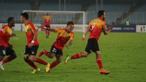 East Bengal FC players celebrates after Enrique Esqueda (#9) scored his second goal against NEROCA FC in the 2018/19 I-League match at the Salt Lake Stadium. Photo Courtesy:@ILeagueOfficial