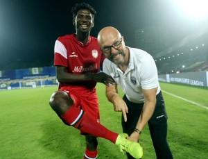 Rowllin Borges of Northeast United FC and Northeast United FC Head Coach, Eelco Schattorie after winning the match 75 of the Hero Indian Super League 2018 ( ISL ) between Mumbai City FC and Northeast United FC held at The Mumbai Football Arena in Mumbai, India on the 13th February 2019 Photo by: Sandeep Shetty /SPORTZPICS for ISL