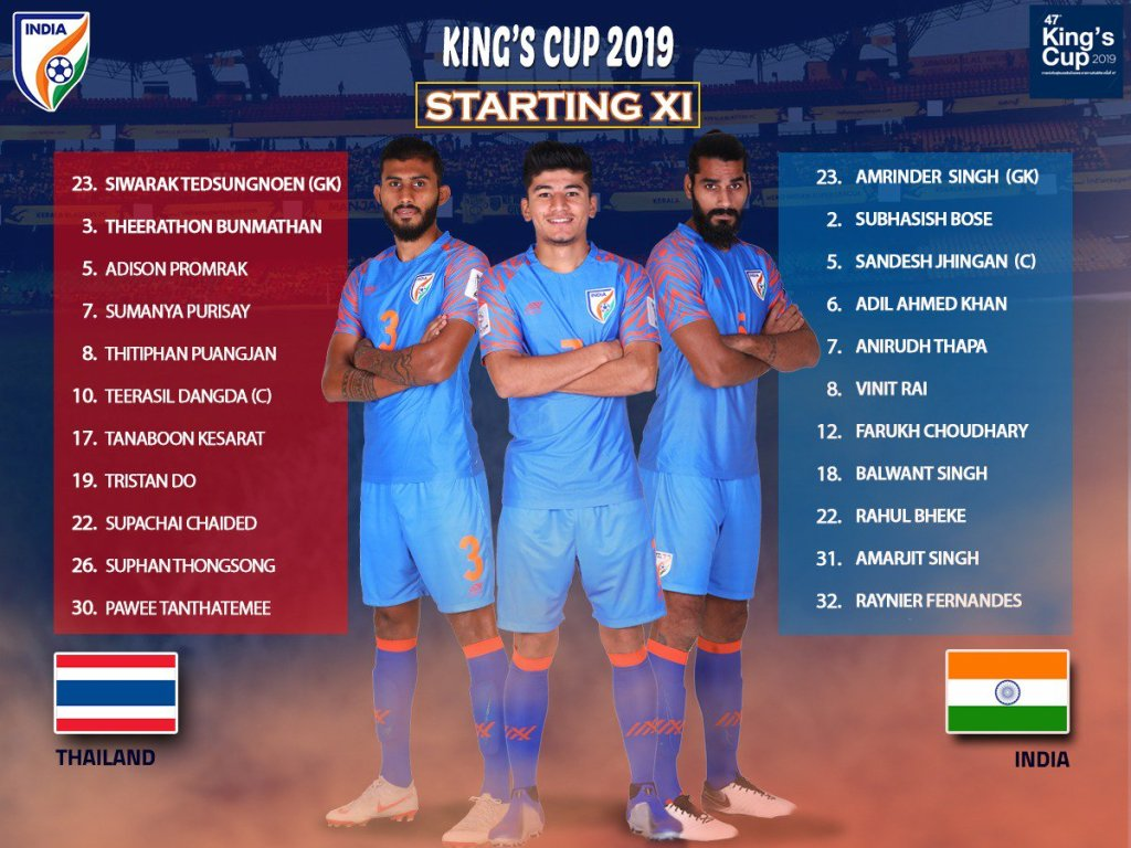 Starting XI India vs Thailand  King's Cup 2019