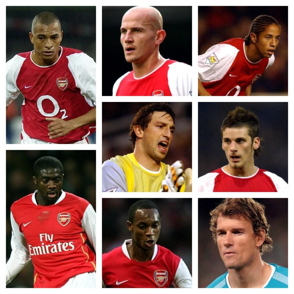 (L to R): Gilberto Silva, Pascal Cygan, Ryan Garry, Rami Shaaban, David Bentley, Kolo Toure, Justin Hoyte, Jens Lehmann.