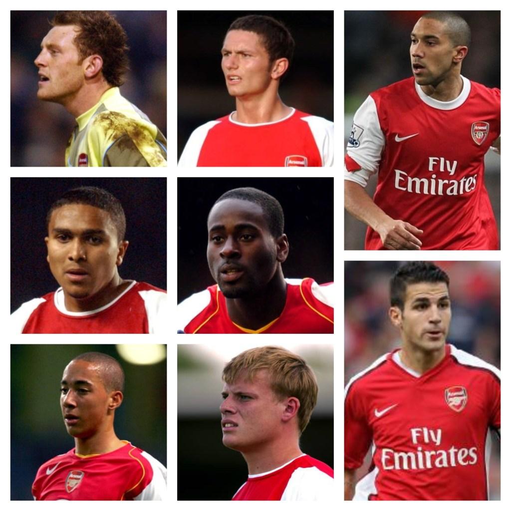 (L to R): Graham Stack, John Spicer, Gael Clichy, Jerome Thomas, Quincy Owusu-Abeyie, Ryan Smith, Frankie Simek, Cesc Fabregas.
