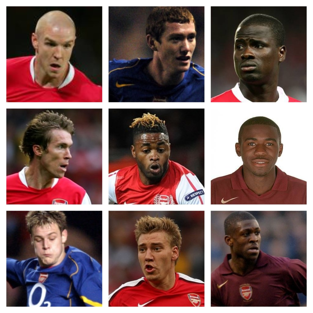 (L to R): Philippe Senderos, Patrick Cregg, Emmanuel Eboue, Alexander Hleb, Alex Song, Fabrice Muamba, Anthony Stokes, Nicklas Bendtner, Kerrea Gilbert.