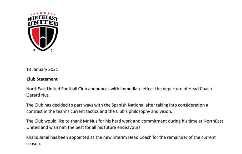 Northeast United FC have announced the departure of their Head Coach Gerard Nus