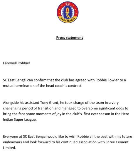 Robbie Fowler SC East Bengal Mutual Termination