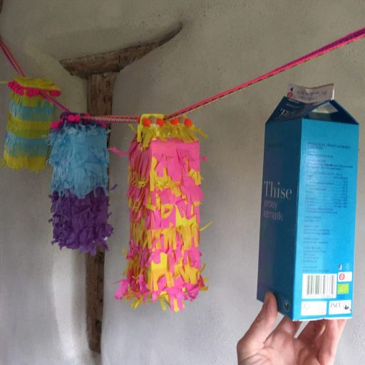 sustainable party pinatas made from milk cartons