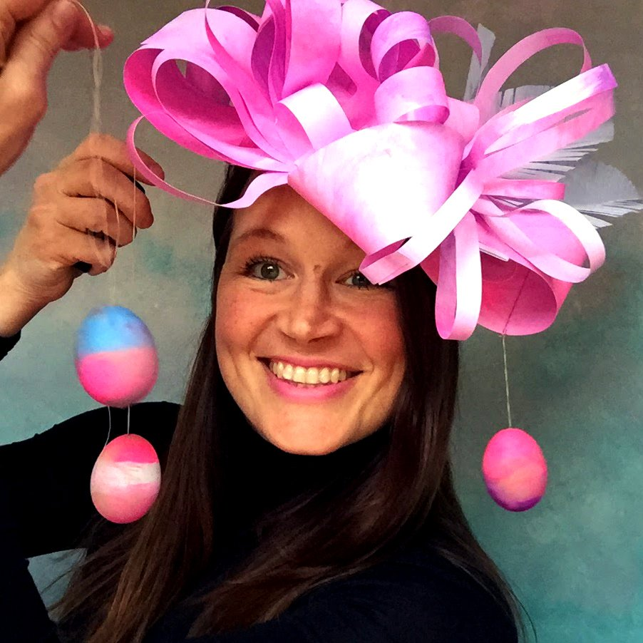 eco friendly kids crafts blogger ulla lake wearing an easter hat