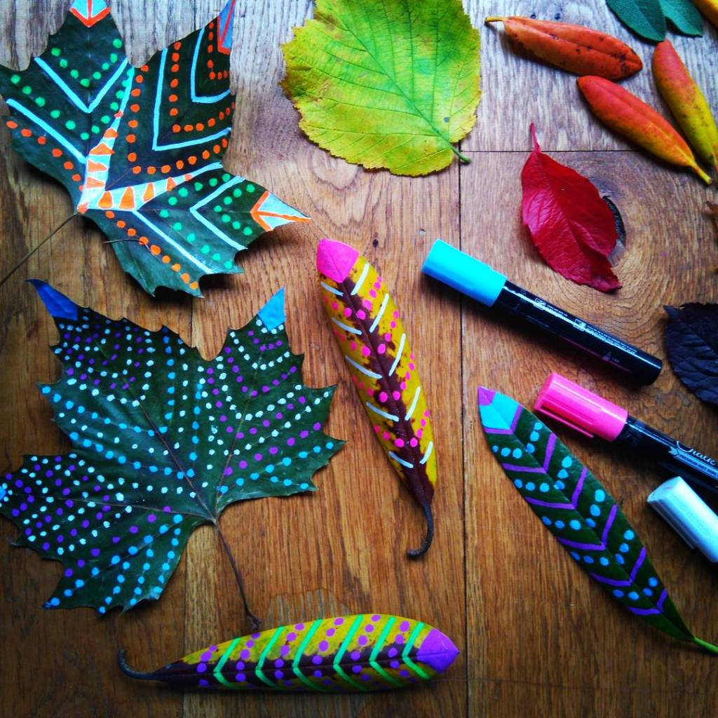eco friendly kids crafts autumn leaves decorated with chalk pen kids nature play activity