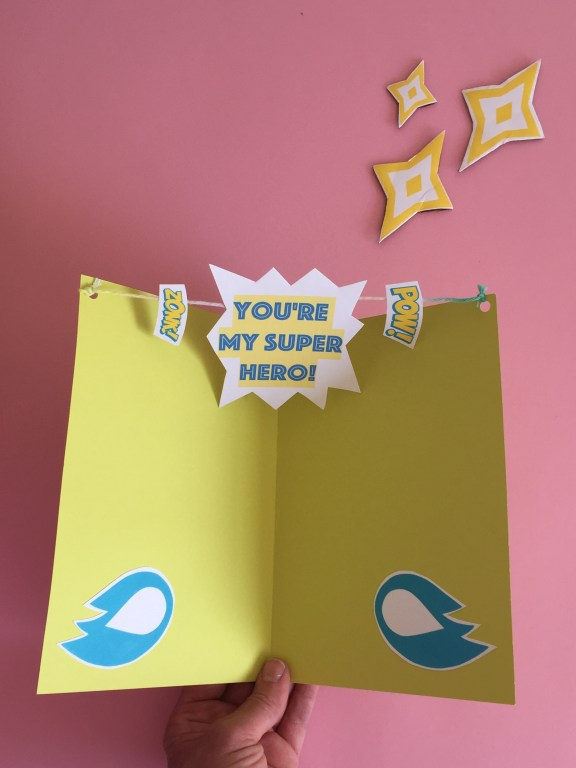 our finished handmade pop up - you're my superhero - fathers day card
