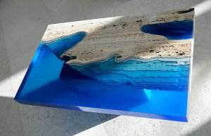 Cut Travertine lagoon tables 2