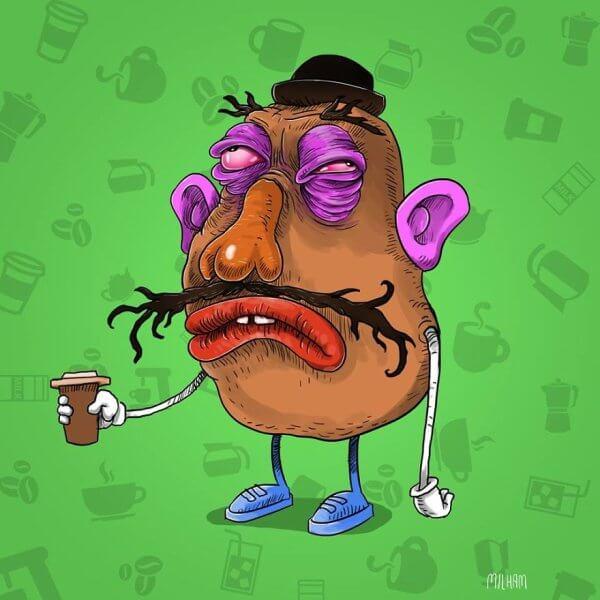 Mrs Big Head Cartoon Character
