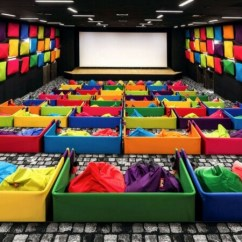 Cool Bean Bag Chairs Comfortable Beach Movie Theater In Slovakia Offers Snuggling Beanbags As Seats And Colorful Design