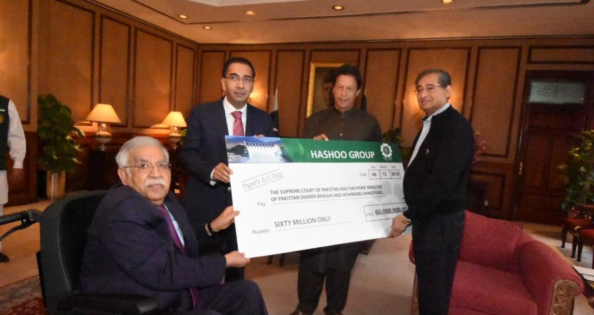 Chairman Hashoo Group presents Rs 60 mln cheque to PM for dams fund